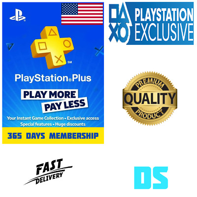 PlayStation Plus 1 Year 12 Month 365 Day PSN Membership Code PS3 PS4 PS Vita USA