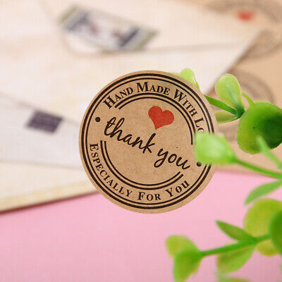 1 Roll 500pcs Kraft Paper Thank You Decorative Adhesive Stickers Label Brown