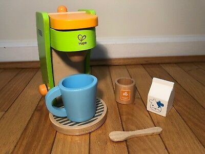 Hape Kids Coffee Maker Wooden Play Kitchen Set With Accessories Green