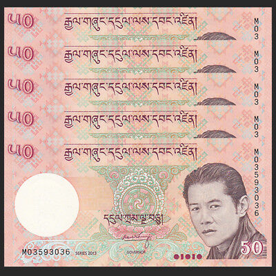 Lot 5 PCS, Bhutan 50 Ngultrum, 2013, P-31, banknote, UNC