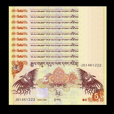 Lot 10 PCS, Bhutan 5 Ngultrum, P-28, 2006-2015, UNC