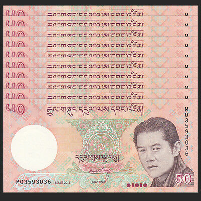 Lot 10 PCS, Bhutan 50 Ngultrum, 2013, P-31, banknote, UNC