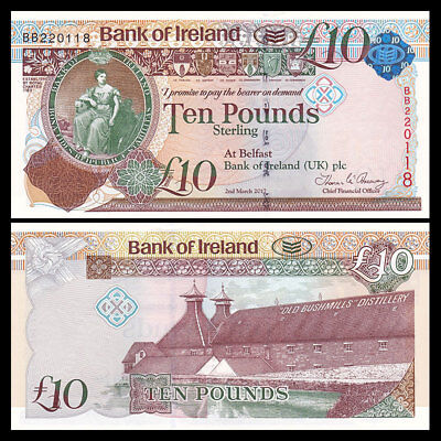 Northern Ireland 10 Pounds, 2017, P-87 NEW, UNC