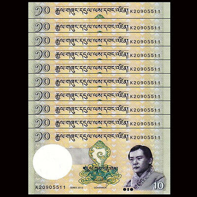 Lot 10 PCS, Bhutan 10 Ngultrum, 2013,P-29b, UNC