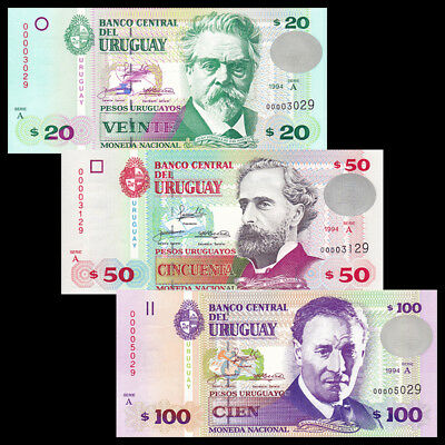 Uruguay SET 3 PCS, 20 50 100 Pesos, 1994, Serie A, Low serial number, UNC