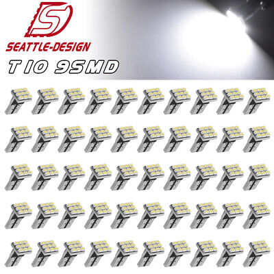 50x Super White T10 Wedge 9SMD LED Dome Map Interior Light Bulb W5W 194 168 2825
