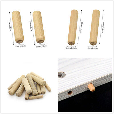 100Pcs HARDWOOD MULTIGROOVE CHAMFERED WOODEN DOWELS FLUTED PINS CRAFT WOOD GIFT