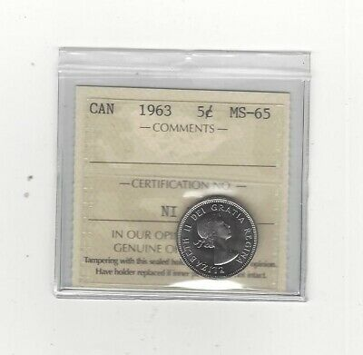 **1963**, ICCS  Graded Canadian,  5 Cent, **MS-65**