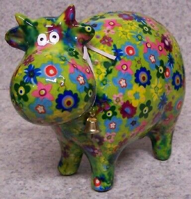 Coin Piggy Bank Ceramic Savings Animal Dairy Cow NEW multicolor lime green base