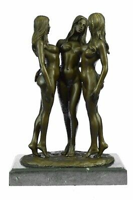 Three nude bronze Naked Girl statuettes statues Figurines by Mavchi  Lost wax NR