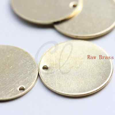 CW-3875C-D-520 6mm 100 Pieces Raw Brass Brushed Round Disc Charm