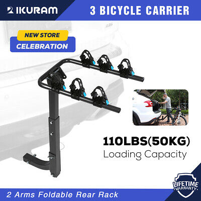 "IKURAM 3 Bike Bicycle Rack Rear Carrier 2"" Hitch Mount 2Arms Steel Foldable Blue"