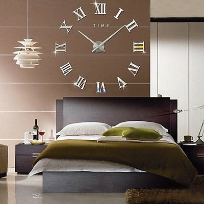 Luxury 3D DIY Wall Clock Roman Numeral Mirror Sticker Home Bedroom Decor Silver