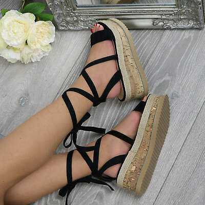 Womens Ladies Mid Wedge Heel Espadrille Tie Up Platform Strappy Sandals Size