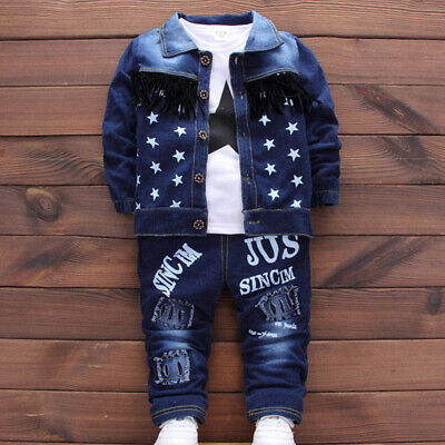 Kids Baby Clothes Outfit Boy Outfits Boys Infant Toddler Coat + T-shirt + Jeans