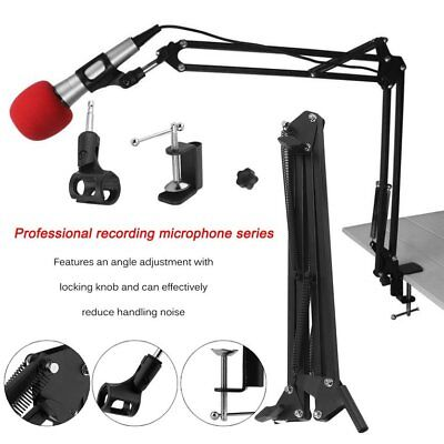 Mic Microphone Suspension Boom Scissor Arm Stand Holder for Studio Broadcast TT