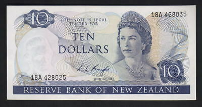 New Zealand P-166c. (1975) $10 ERROR. Mis-matched Serial Numbers.. UNC - SCARCE
