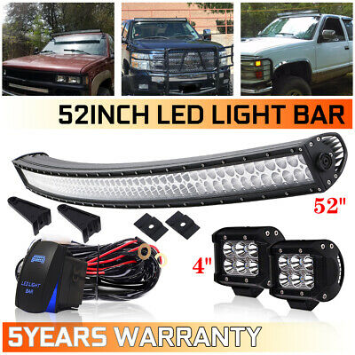 52inch 700W Curved Led Light Bar Offroad Windsheild Roof Driving SUV Tractor 54