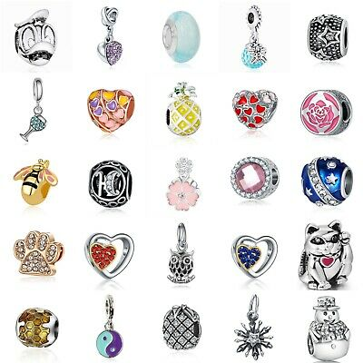 European Silver Charms Enamel Heart CZ Beads Pendant Fit 925 Sterling Bracelet