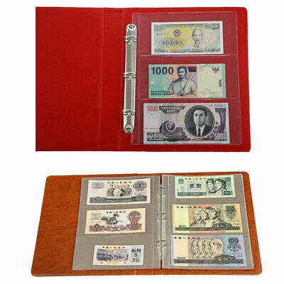 10 Sleeves 3 Pockets Money Banknote Collecting Holder Paper Album Book Pages