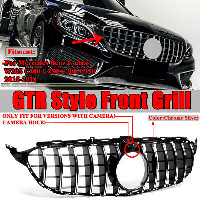 GT R Style Grille For Mercedes Benz W205 AMG C300 C350 C-Class 2015-18 W/ Camera