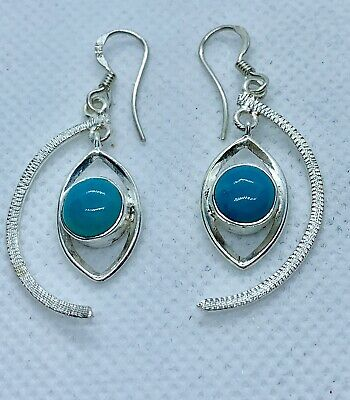 Boho 925 Sterling Silver Unusual Earrings With Large Turquoise Stone