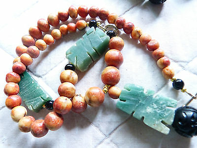 Antique Apple Coral Necklace/Earrings-handcarved green stone - jade? - jet beads