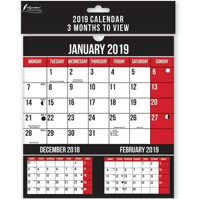 """9"""" 2019 Small Month To View Wall Calendar Lunar Engagement Full Planner Office"""