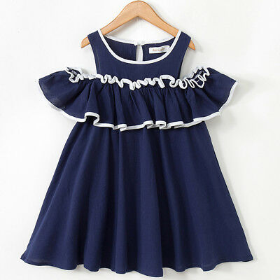 Toddler Kids Baby Girls Outfits Clothes Ruffles Party Princess Dresses 2-7Y S2