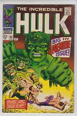 The Incredible Hulk # 102  Vf  Origin And Premier Issue  Cents  1968