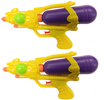 "2 x Water Pistols 10"" Super Shot Soakers Wet Gun Fight Cannon Beach Toys  714"