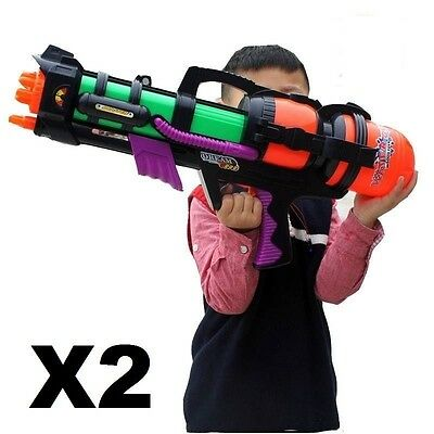 "2 (two) x 23"" Giant Water Gun Pump Action Mega Super Soaker Beach Garden Toy 921"