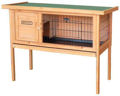 Wooden Rabbit Hutch Guinea Pig Cage Run w/ Cleaning Tray Grey & White/Brown