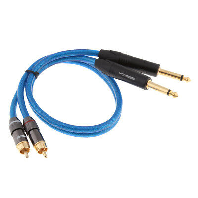 Premium Mixer Amp Stereo Audio Cable - Dual 6.35mm 1/4inch to Dual RCA Plug