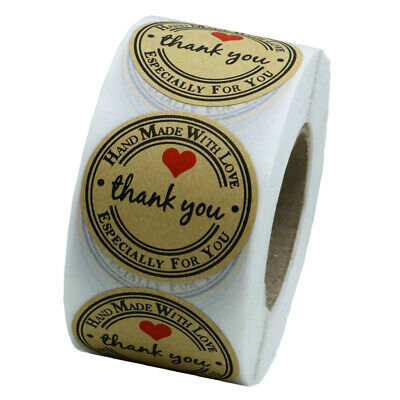 1 Roll of 500pcs Kraft Thank You Stickers Labels Permanent Adhesive Brown