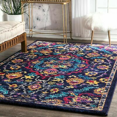 Floral Purple Area Rug 5x7 Hand Carved Lavender With Ivory