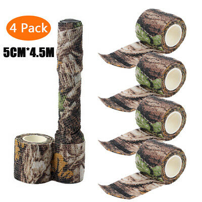 4 Rolls 4.5M Military Camo Stretch Bandage Camping Hunting Camouflage Tape Wrap