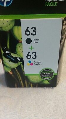 HP #63 Combo Ink Cartridges 63 Black & Color NEW GENUINE Exp 06/2020
