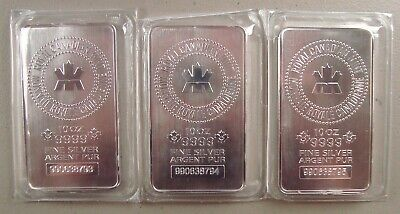 Lot of (3) Royal Canadian Mint 10 oz .9999 Fine Silver Bullion Bars Uncirculated