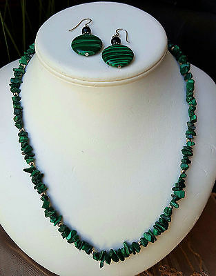 Vintage~NATURAL~GENUINE~*MALACHITE*~*NECKLACE & EARRINGS SET* ~ *55cm Long*
