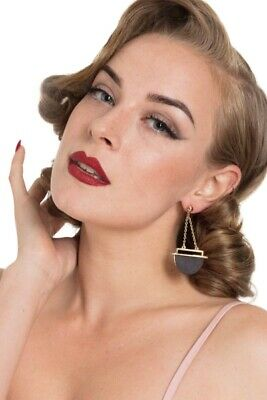 Art-deco 1930's Pinup Retro Vintage Style Wooden Drop Earrings