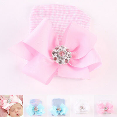 Infant Baby Beanie Cap Newborn Bowknot Diomand Hat Toddler Hospital Lovely Girl