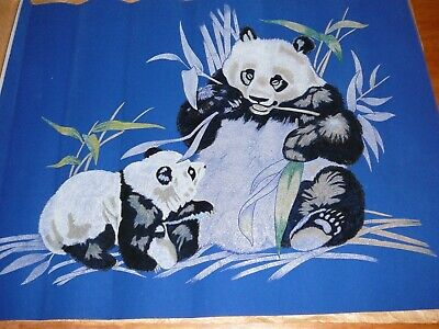 """Hobbytex Picture """"Panda"""" Partially completed - rare blue velveteen background"""