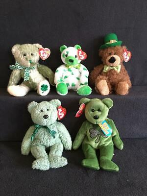 7bd3a251e92 5 Beanie Baby St Patrick s Day Bear McWooly Clover Lucky O Day Luckier  Shamrock
