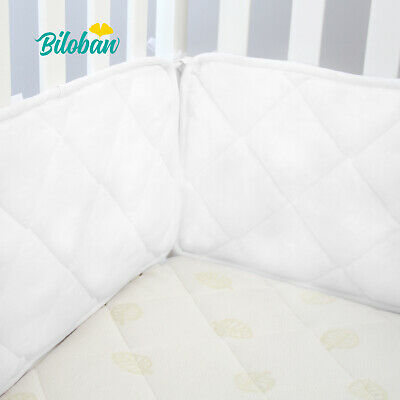"Baby Crib Bumper Pad for 52"" x 28"" Toddler Bed Cot Protector 4PCs White 2 Pack"