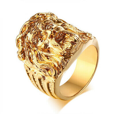 Christian Jesus Stainless Steel Gold Plated Antique Style Craft Men's Ring M49