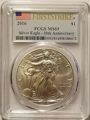 2016 American Silver Eagle 1 oz .999 Fine Silver Bullion PCGS MS69 First Strike