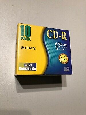 Sony ~CD Recordable, 10 Pack, 650MB / 74min, Brand New Factory Sealed CDQ-74BN