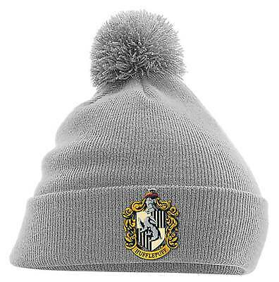 05e2263bdd7 Harry Potter Beanie Hat Hufflepuff House Crest Hogwarts new Official Grey  bobble