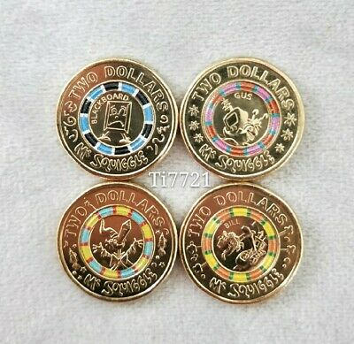 Specials!FREE POST Set of 4*2019UNC Mr Squiggle$2 Coins-Taken from RAM coin set.